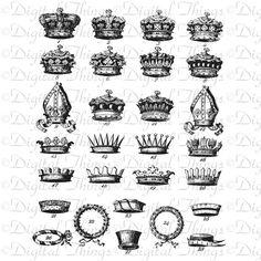 Vintage Crowns French English German King Prince
