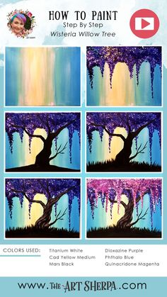 How to paint a wisteria willow tree with Q tips full Acrylic on Canvas step by step, free video lesson and traceable. This is perfect for your home painting party. Are YOU ready to Enjoy this… Q Tip Painting, Canvas Painting Tutorials, Easy Canvas Painting, Moon Painting, Simple Acrylic Paintings, Step By Step Painting, Beginner Painting, Acrylic Art, Canvas Art