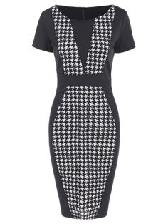 Gorgeous Houndstooth Pencil Dress with Sleeves de5c5cfd9afb