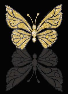 AN EXTRAORDINARY FANCY VIVID YELLOW, FANCY INTENSE YELLOW, COLORED DIAMOND AND STEEL BUTTERFLY BROOCH, BY RALPH ESMERIAN, CARVIN FRENCH