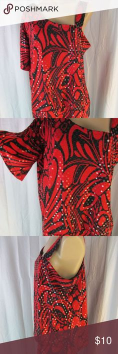 """Fashion Bug Red Black Sequined One Shoulder Top 1X Fashion Bug red & black abstract print top. All over clear sequins. Single strap on left shoulder, right arm has top slit. Banded hemline.  Poly spandex, machine wash.  Marked/tagged size 1X      Chest underarm to underarm x2 48""""     Hemline 50""""  Condition:  Very good previously owned, no rips/stains or tears. Fashion Bug Tops Blouses"""