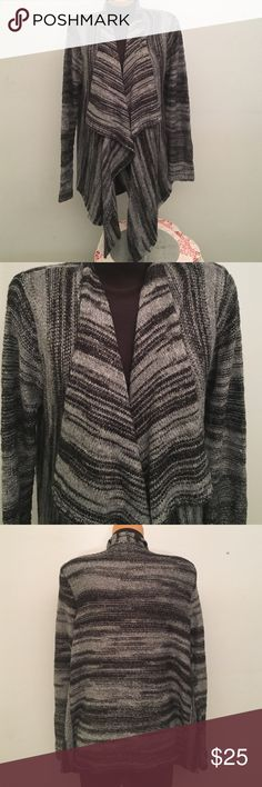 Open Front Cardigan Black and Gray with silver metallic strands throughout! Super cute and warm. Excellent condition! 73% Acrylic, 14% Cotton, 6% Polyester, 7% other fibers (B1) a.n.a Sweaters Cardigans