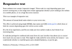 This is an example of responsive text.    The amount of textual detail scales relative to your screen size.