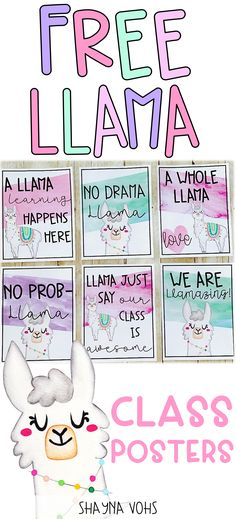 Brighten your classroom with these adorable watercolor llama themed posters. These 6 free posters are great classroom decor for walls or bulletin boards! For additional llama cuteness, check out my Editable Llama Decor Bundle! Preschool Classroom Decor, Classroom Decor Themes, Classroom Design, Classroom Ideas, Classroom Calendar, Classroom Bulletin Boards, Future Classroom, Printable Classroom Posters, Classroom Walls