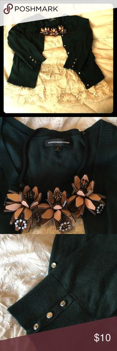 Express cardigan GUC. Super cute crystal button detailing. Color is a deep forest green. Express Sweaters Cardigans