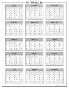 calendars for june and july 2015