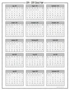 2014 and 2015 calendars printable