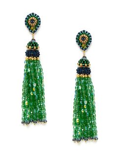 Synthetic Iolite & Green Bead Tassel Earrings by Miguel Ases on Gilt.com