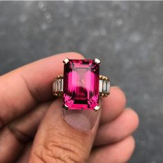 """@katerina_perez """"Rubellite, the crimson red variety of tourmalines, is on the peak of popularity right now. Here is one of the most beautiful stones I have ever seen - 14,96 cts rubellite in a ring by Jochen Leen @jochenleen surrounded by flawless diamonds."""" #vibesjewelery ."""