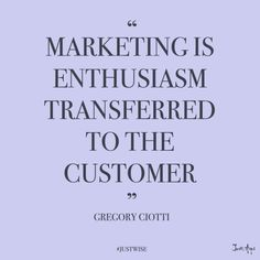 """Marketing is enthusiasm transferred to the customer."" – Gregory Ciotti, Content… ""Marketing is enthusiasm transferred to the customer."" – Gregory Ciotti, Content Marketing Lead at - Sales Motivation, Business Motivation, Business Quotes, Business Men, Online Business, Business Ethics, Motivation Success, Success Mindset, Growth Mindset"