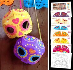 Dia De Los Muertos - Calavera Masks Paper Models - by Happy Thought - == -  In this British website you will find seven cool Dia De Los Muertos Calavera Masks to download. Very easy to build, very colorful. Kids will love it!