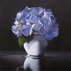 """Paintings from the Point: """"Hydrangea"""" 8x8 by M. Collier"""