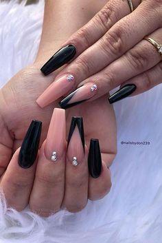 Acrylic Nails Coffin Ombre, Acrylic Nails Coffin Pink, Summer Acrylic Nails, Coffin Nails Long, Black Ombre Nails, Nail Black, Black Manicure, Coffin Shape Nails, Acrylic Nail Art