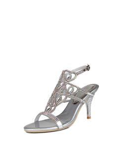 Shop Sandals - Silver PU Rhinestone Dress Stiletto Heel Summer Sandal online. Discover unique designers fashion at StyleWe.com.
