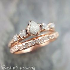 CUSTOM Rohdiamant Rose Gold Engagement Ring Raw Gold Wedding Dainty Delicate Ring Diamond Wedding Band Raw Diamond by Angeline - diamonds Rose Gold Engagement Ring, Diamond Wedding Rings, Raw Stone Engagement Rings, Wedding Bands, Solitaire Engagement, Bridal Rings, Wedding Engagement, Wedding Posing, Engagement Bands