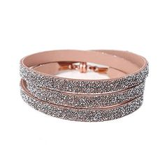 She.Rise Triple Wrap Bracelet, Nude Crystal. Triple nude leather wrap with silver crystals and copper magnetic closure.Italian Leather, Swarovski Crystals and Copper Magnets. Handmade in USA. $72