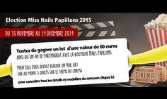 CONCOURS NAIL ART CHEZ NAILS PAPILLONS! Du 15 novembre au 14 décembre 2014  Devenez la nouvelle Miss Nails Papillons 2015 et tentez de gagner un lot d'une valeur de 60€ ainsi qu'1 an de partenariat avec la Boutique Nails Papillons!