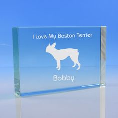 Boston Terrier Dog Lover Gift Personalised Engraved Glass Paperweight Dog Gift - Add Message - Birthday Gift, Mother's Day Gift, Christmas