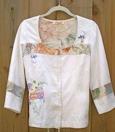Vintage linen tablecloth blouse