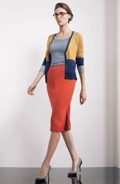 Halogen® Colorblock V-Neck Cardigan, Ballet Neck Tee, & Long Ponte Pencil Skirt #Nordstrom #AugustCatalog