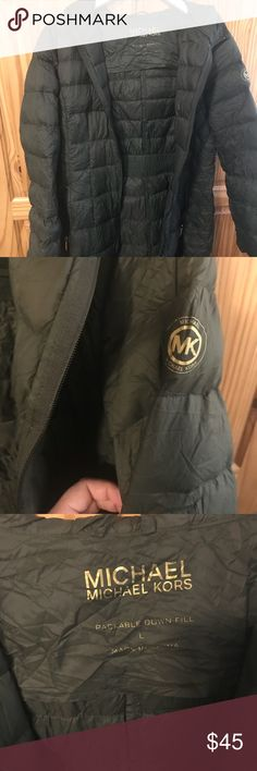 Large Michael Kors packable down coat EXCELLENT condition, Michael Kors size Large packable down coat. Coat packs into bag for easy storage. Michael Kors Jackets & Coats