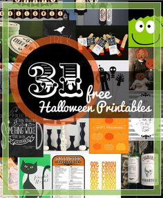 Persia Lou: 31 Free Halloween Printables I have been coming across so many awesome free Halloween printables lately that I have been itching to put together a printable round-up. And here it is! Woo! SO much good stuff, friends.NOTE>>Remember, if you see something you like, PLEASE click through and pin from the original source. Thank you!