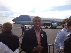 Im so proud of my son Greg Jr. Greg is working for the President's campaign in Ohio. Here he is in front of Airforce 1, waiting to greet President Obama.