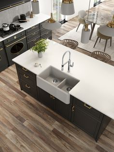 The splendid hanging lights add a modern touch to this rustic kitchen. The Blanco farmhouse sink fits in perfectly! Kitchen And Bath Design, Kitchen Sink, Single Bowl Sink, Modern Sink, Rustic Kitchen, Countertops, Kitchen Remodel, 3 D