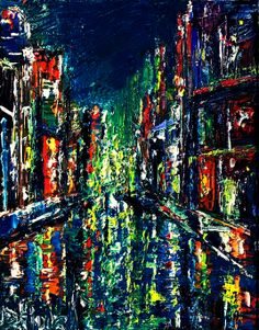 Cityscape Art | Debra Hurd Original Paintings AND Jazz Art: Abstract cityscape night ...