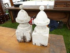 """Great decorating items. This pair has GREAT crackled white paint - nice turnings & they are BEEFY! 14"""" h x 5.75"""" square on base."""