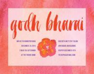 Pink ellie custom godh bharai invitations godh bharai baby shower invitations watercolor godh bharai stopboris Image collections