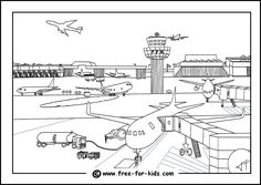 Airport Colouring Page Thumbnail Image