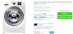 Lavadora de Roupas Samsung Front Load WF106 10,1Kg Branca >