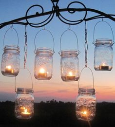 DIY Wedding Mason Jars Lanterns Hangers 6 DIY Outdoor Party Hanging Candle Kits, Luminaries by TreasureAgain, Handmade Hangers Only