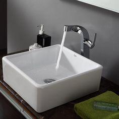 Kraus Square Ceramic Vessel Bathroom Sink In White