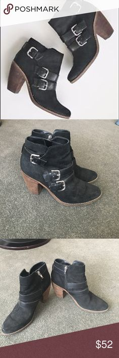 Dolce Vita Booties Black booties with buckle and wooden heel. DV by Dolce Vita. Lightly distressed in the heel, all else is like new. 3 5/8 in high and insoles are 9.75 inches long. Rubber soles, wooden heels, leather straps. Silver tone buckles on the side and zip closures. DV by Dolce Vita Shoes Ankle Boots & Booties
