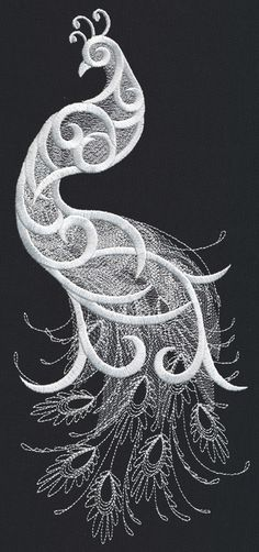White Peacock | Urban Threads: Unique and Awesome Embroidery Designs