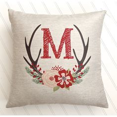 Christmas Pillow Cover Antler Wreath Christmas Decor Rustic Decor... ($24) ❤ liked on Polyvore featuring home, home decor, decorative pillows, home & living, home décor, silver, outside home decor, personalized wreaths, personalized home decor and fabric wreath