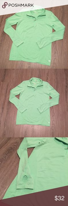 GapFit long sleeve pullover work-out shirt Awesome work out/sports shirt with zipper from GapFit size Medium. 95%nylon 5%spandex. Has lil thumb holes on sleeves. Bright green GAP Tops