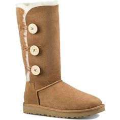 UGG Women's Bailey Button Triplet II Chestnut Boots ($220) ❤ liked on Polyvore featuring shoes, boots, mid-calf boots, lightweight leather boots, cuffed boots, leather shoes, cuff boots and party shoes