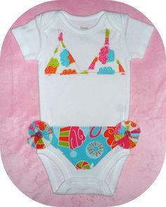 Adorable cupcake bikini onesie for baby girl's 1st birthday!