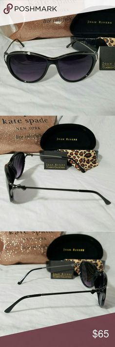 JOAN RIVERS *nwt* Black & Silver Sunglasses Brand: Joan Rivers  Item: *New in the Case Gorgeous Sunglasses *The Lens & Frame are Black Plastic, the Temples are Silver *The Temples Are Unique at the Outside Corner of Each Lens with the Gap They Show *Temples Feature a Silver Bow Where the Temples Fold In *They Come with a 'Note' From Joan, a Cheetah Cleaning Cloth & Black Faux Leather Case  *no trades, offers via offer button only* Joan Rivers Accessories Sunglasses