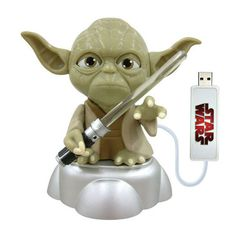 Yoda with Illuminated Light Saber USB Memory - This Yoda with illuminated light saber USB memory stick could easily be mistaken to be a toy. Chuck Norris, Usb Gadgets, Cool Gadgets, Usb Drive, Usb Flash Drive, Star Wars, Cool Tech, Geek Chic, Funny Gifts