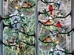 Stained Glass Birds:  For inspiration-cardinal, black capped chickadee, oriole, blue