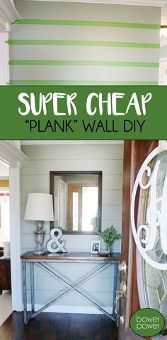 "Want to spruce up a boring wall? Add a ""Plank Wall"" look for under $1!"
