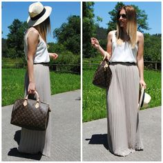liking this look--Long skirt, casual tee & fedora