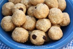 healthy peanut butter balls (honey, peanut butter, oatmeal, and you can add wheat germ for some added healthiness)