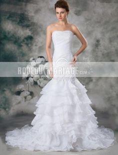 Milti-couches sirène sans bretelle organza robe de mariage princesse