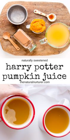This Copycat Harry Potter Pumpkin Juice is not only super easy to make, but full of warm fall flavors. Naturally sweetened and easy to make in minutes! Harry Potter Pumpkin Juice, Harry Potter Desserts, Harry Potter Drinks, Harry Potter Food, Harry Potter Recipes, Harry Potter Treats, Pumpkin Recipes, Fall Recipes, Real Food Recipes