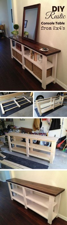 Check out how to make a DIY wooden rustic console table from 2x4s